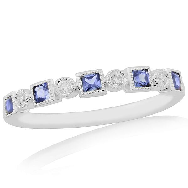 Rings - Sapphire and diamond half eternity ring in 18ct white gold  - PA Jewellery