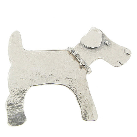 Dog brooch in silver
