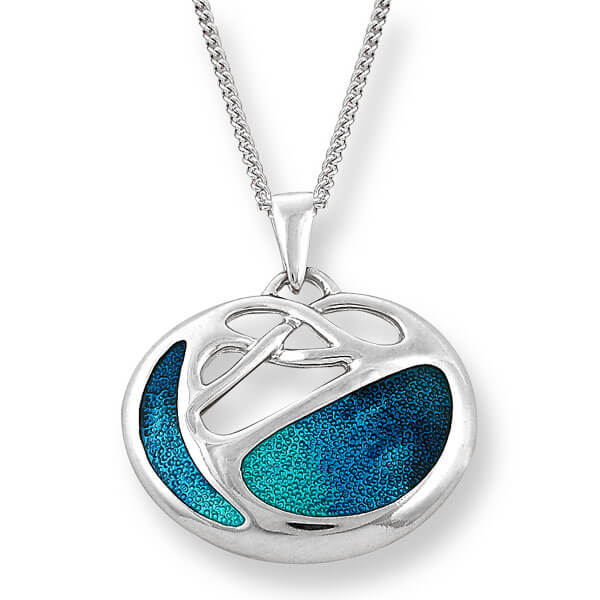 Blue enamel art nouveau pendant and chain in silver