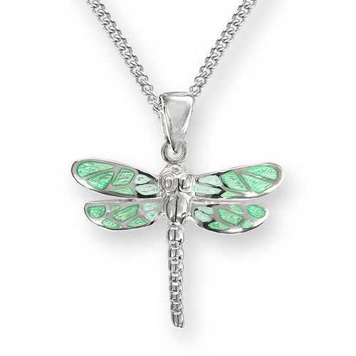 Green enamel dragonfly pendant and chain in silver