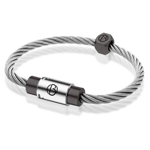 Stratus CABLE™ bracelet in stainless steel with graphite PVD