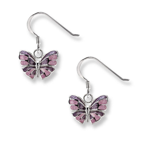 Purple enamel butterfly drop earrings in silver