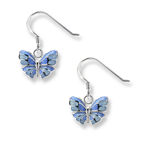 Blue butterfly enamel drop earrings in silver
