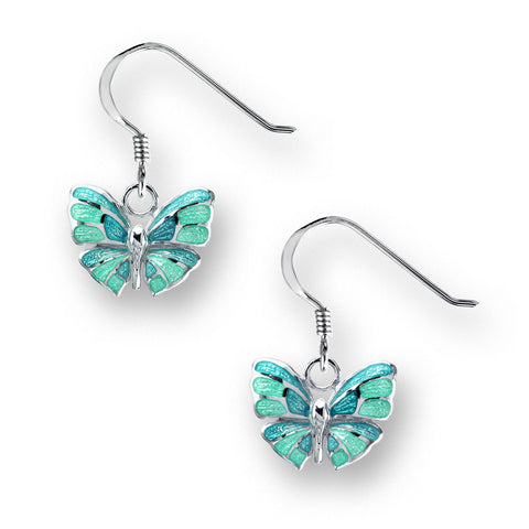 Turquoise enamel butterfly drop earrings in silver