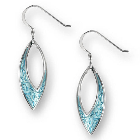 Blue enamel marquise shape drop earrings in silver