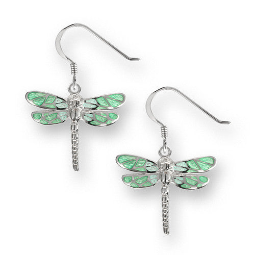 Dragonfly drop earrings in green enamel and silver