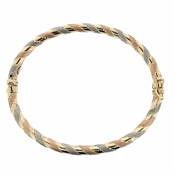 Hinged bangle in 9ct three-colour gold