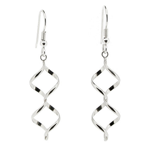 Earrings - Double spiral drop earrings in silver  - PA Jewellery