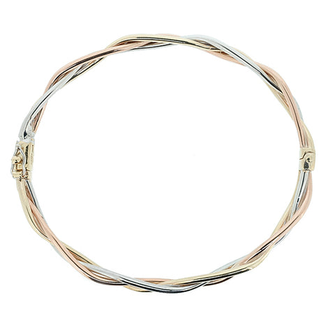 Plait design hinged bangle in 9ct three colour gold