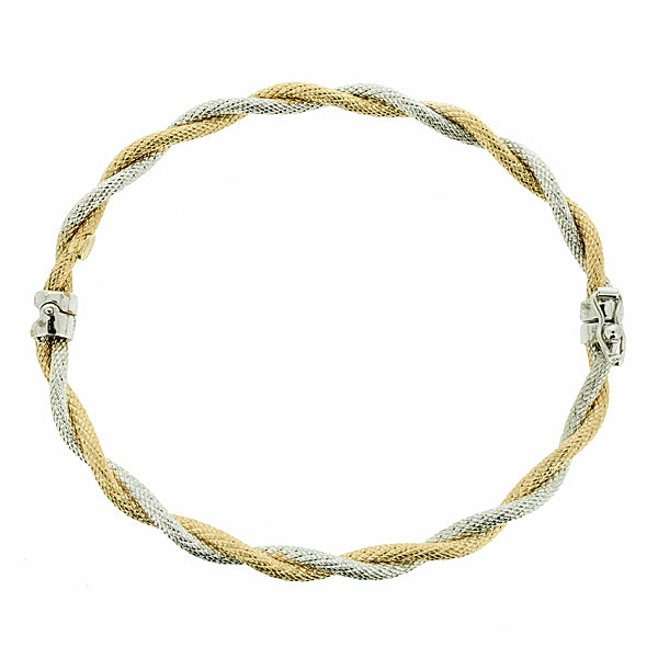 Textured twist hinged bangle in 9ct yellow and white gold
