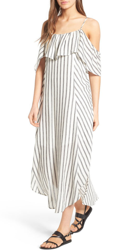 ASTR Lorena Dress White-Black Stripe