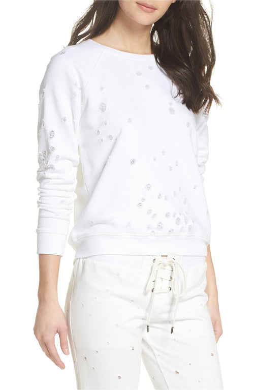David Lerner Distressed French Terry Sweater Pullover