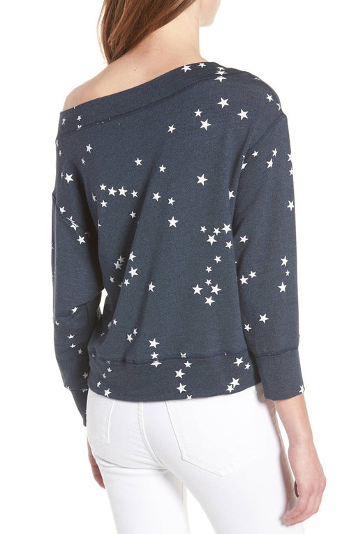 Sundry Stars Off Shoulder Pullover Sweater