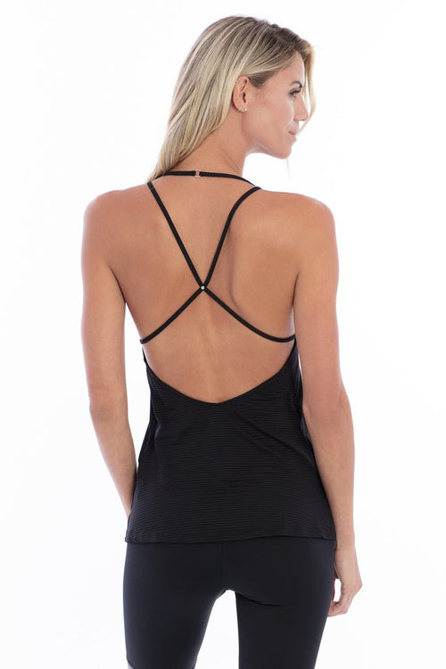 Track & Bliss Scalloped Studded Tank Black