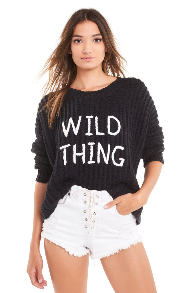 Wildfox Rib Knit Wild Thing Embroidered Sweater