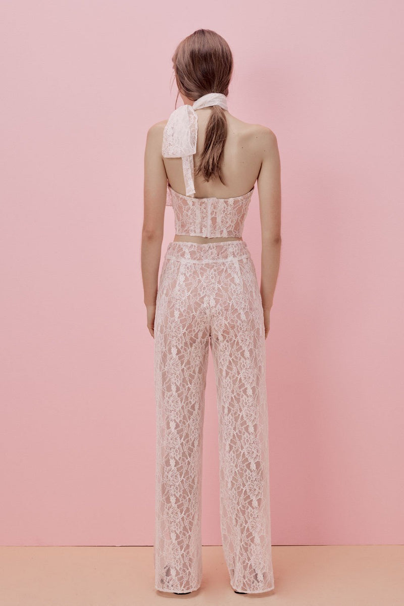 For Love and Lemons La Lily Lace Pant White
