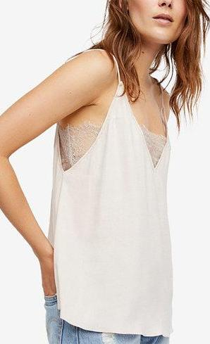 Free People Deep V Lace Bandeau Cami Top