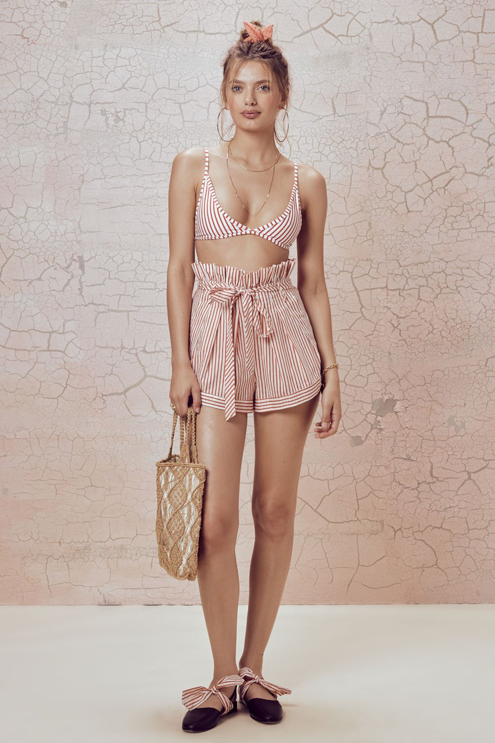 For Love and Lemons Isla Striped Shorts