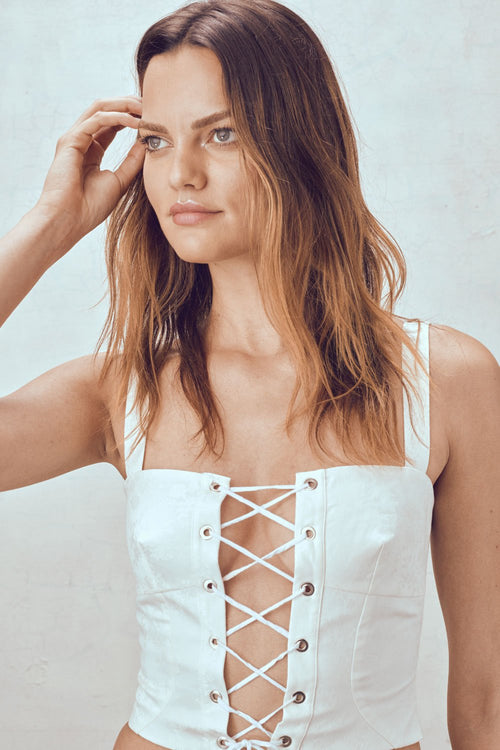 For Love and Lemons Poppy Lace Up Corset Top