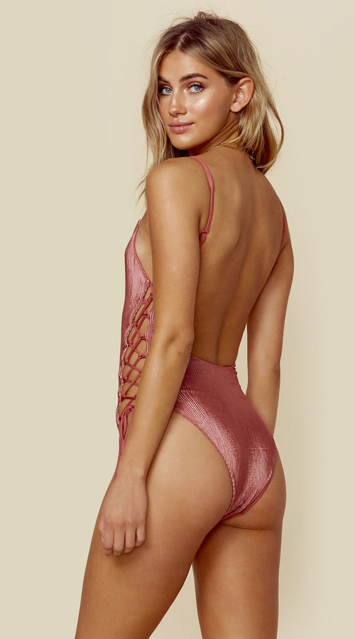 Blue Life Mermaid One Piece Swim Suit Dusty Rose