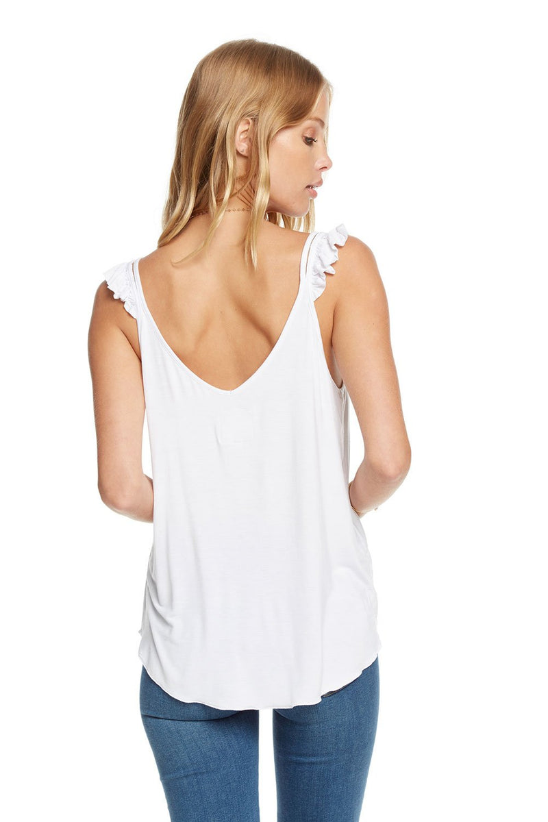 Chaser Cool Jersey Ruffle Strap Double V Cami Top