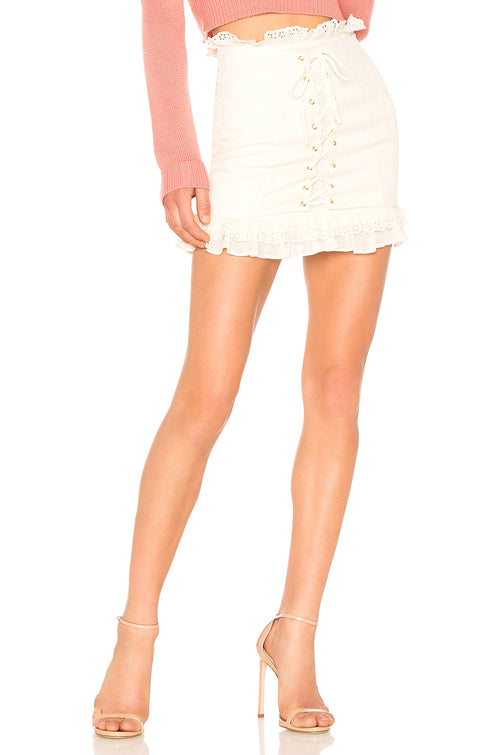 Lovers + Friends Lace Up Oscar Skirt