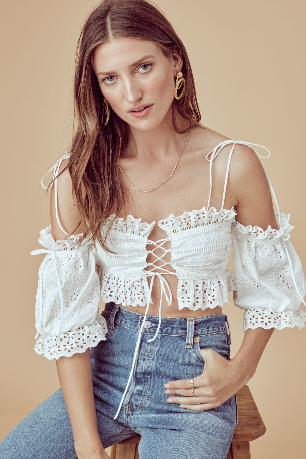 For Love and Lemons Anabelle Eyelet Crop Top
