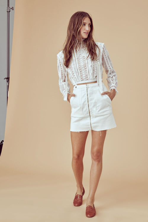 For Love and Lemons Monika Overalls Mini Skirt