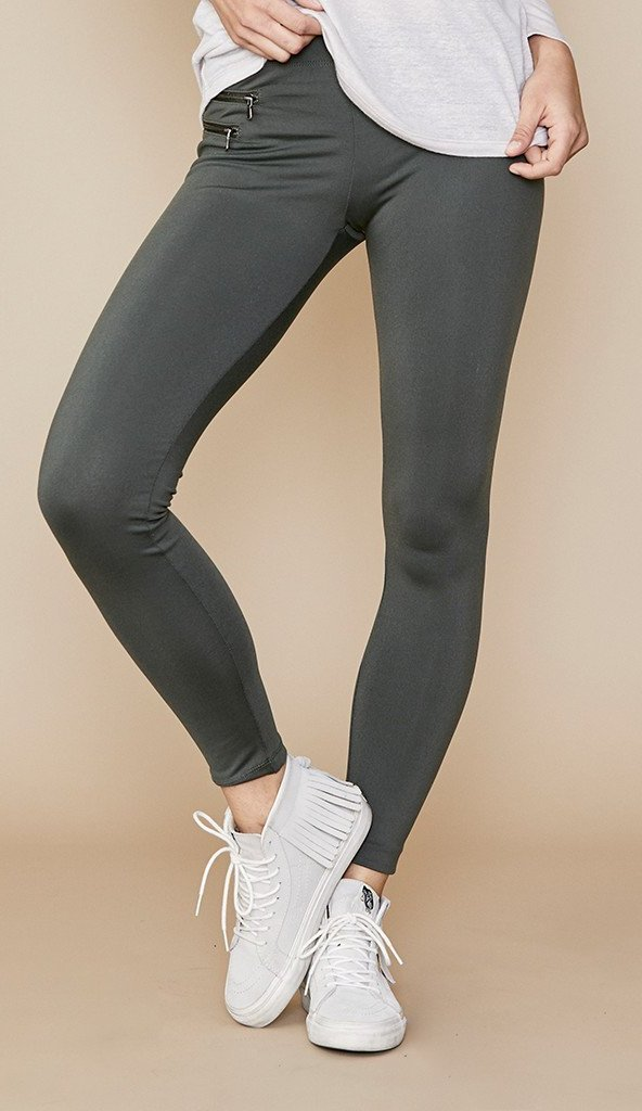 David Lerner Double Pocket Zip Legging Olive