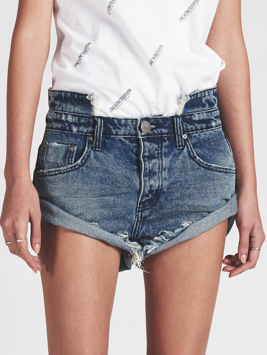 One Teaspoon Blue Society Bandits Jean Shorts Cut Offs