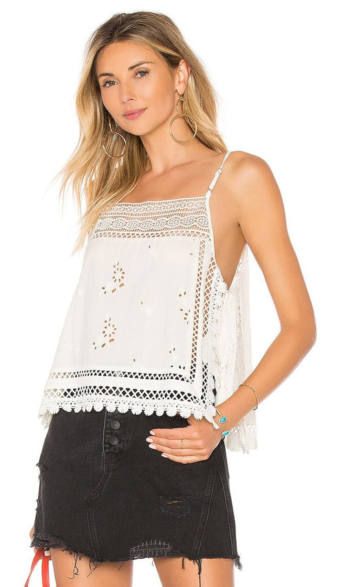 Free People Eyelet Garden Party Cami Top