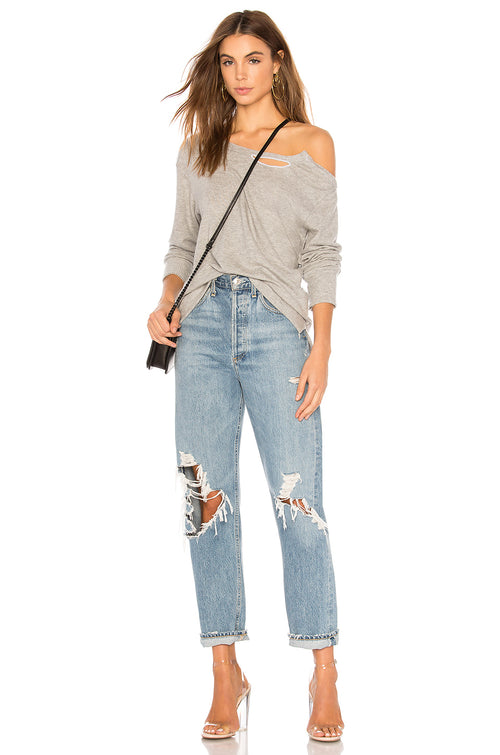 LNA Brushed Madly Off Shoulder Sweater Grey