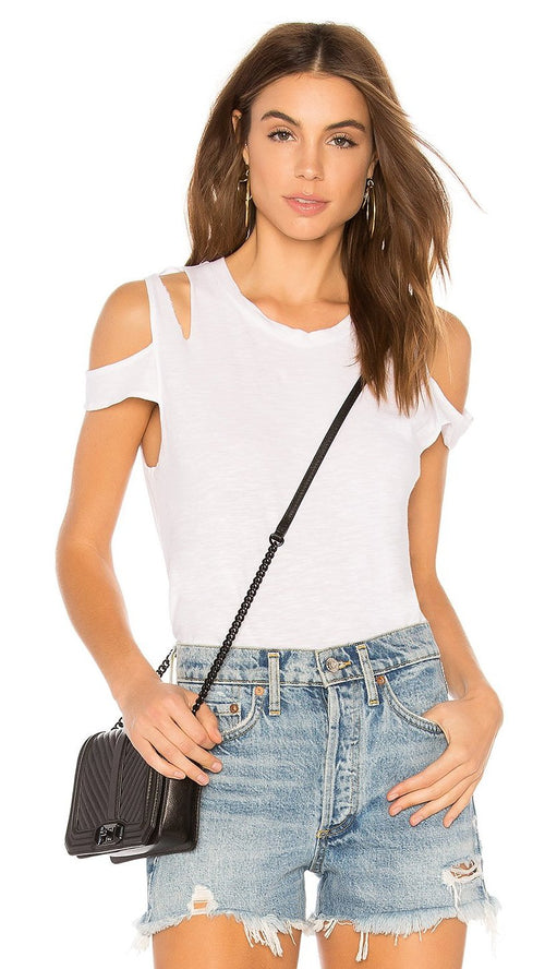 LNA Elijo Sleeve Cut Out Tee Shirt