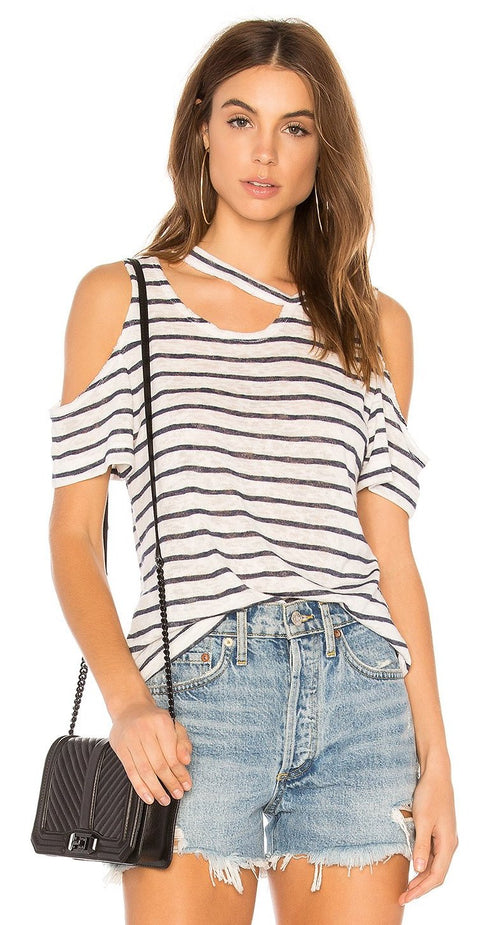 LNA Avalanche Striped Tee Shirt Navy/Natural Stripe