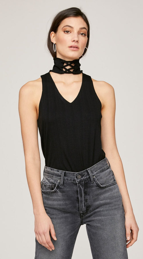LNA Lace Up Turtleneck Tank Top