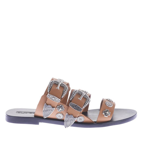 James Smith Stevie Stacked Slide Sandal Black/Natural