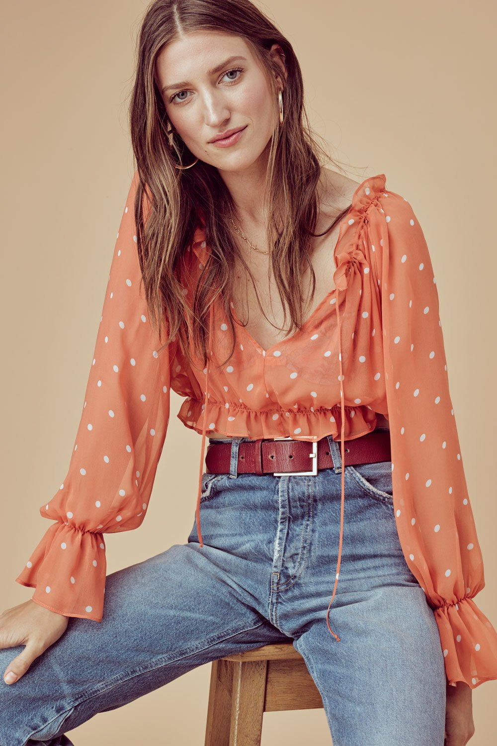 For Love and Lemons Analisa Polka Dot Blouse