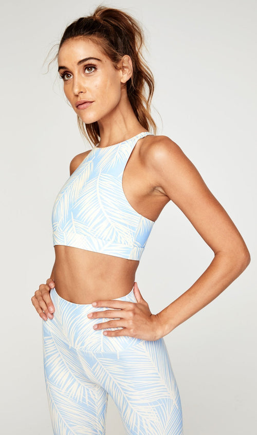 Spiritual Gangster High Neck Athletic Bra Blue Palm