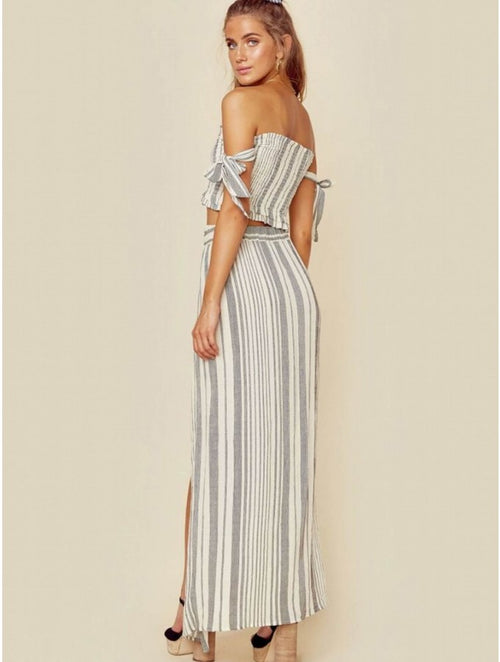 Blue Life Grace High Waisted Wrap Skirt Boho Stripe