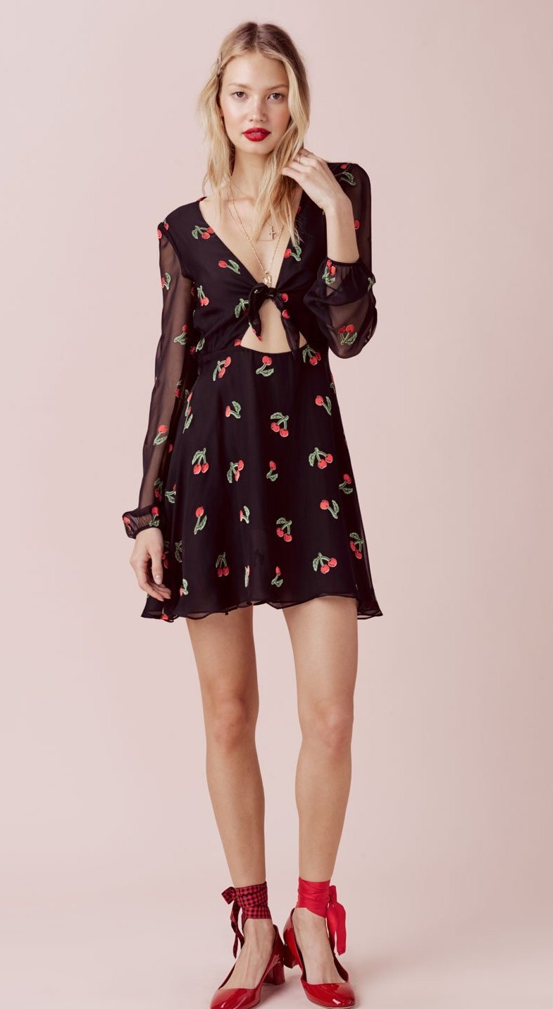 For Love and Lemons Cherry Twist Mini Dress