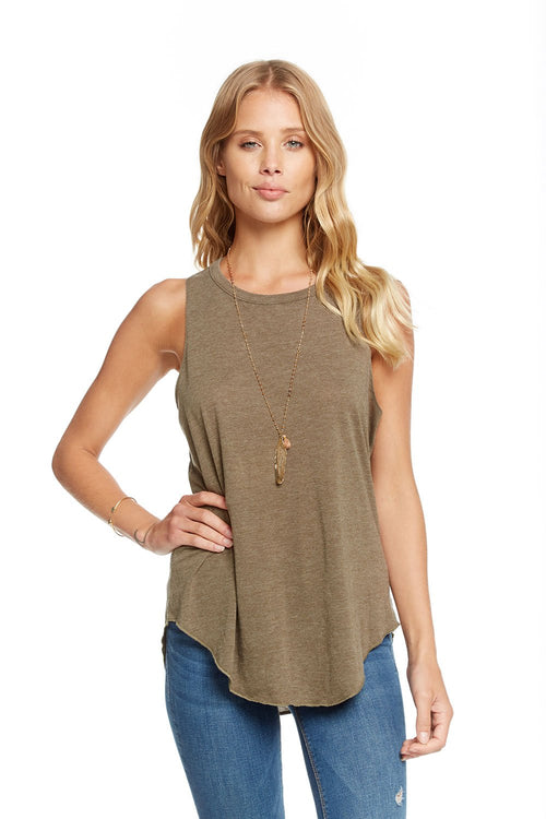 Chaser Vintage Jersey Knotted Drape Back Shirttail Tank