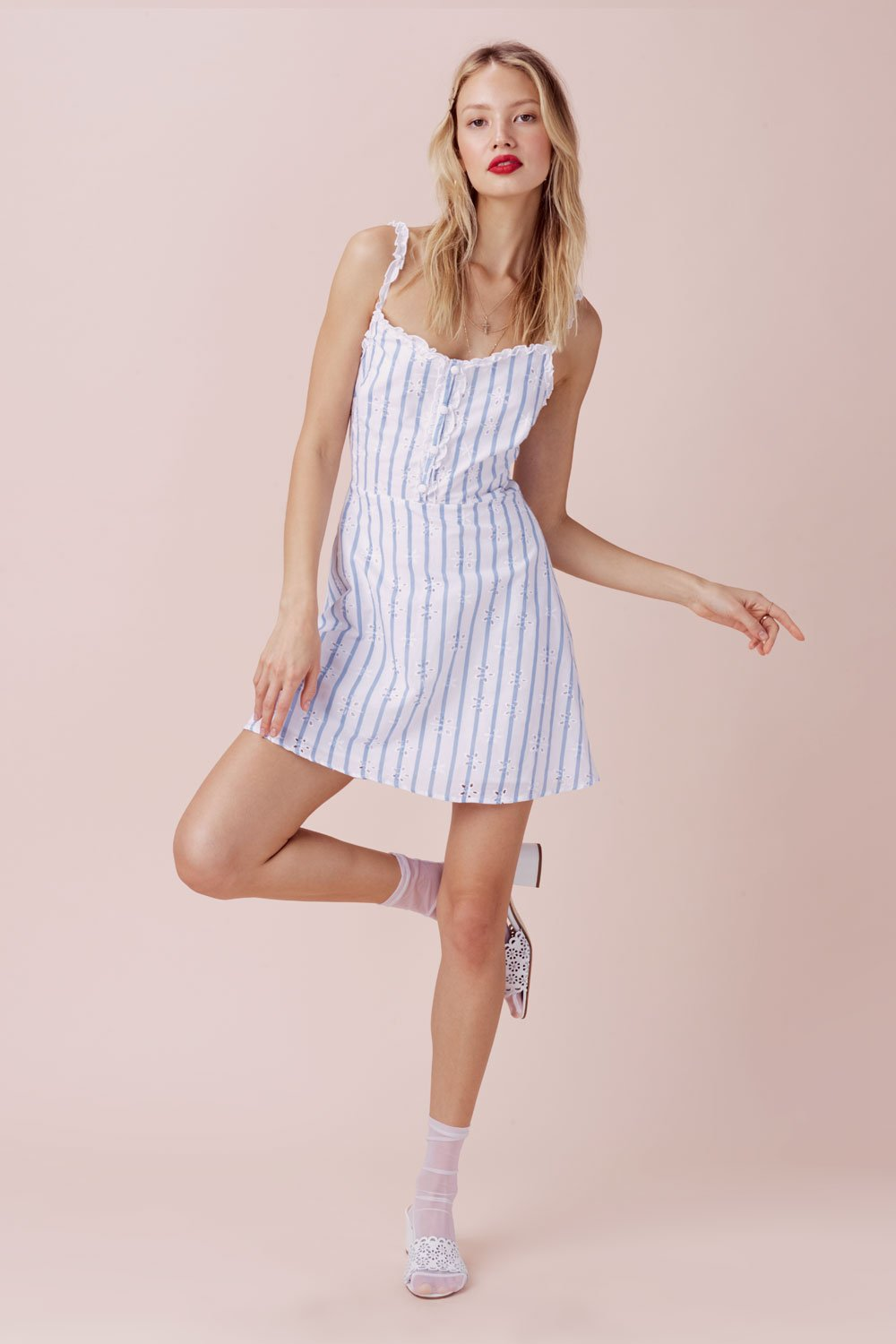 For Love and Lemons Picnic Eyelet Mini Dress