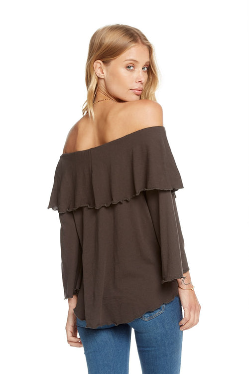Chaser Gauzy Cotton Jersey Off Shoulder Shirttail Ruffle Boho Top