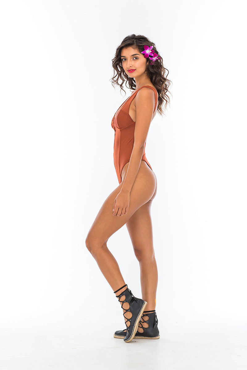 Indah Grove One Piece Swim Suit Henna