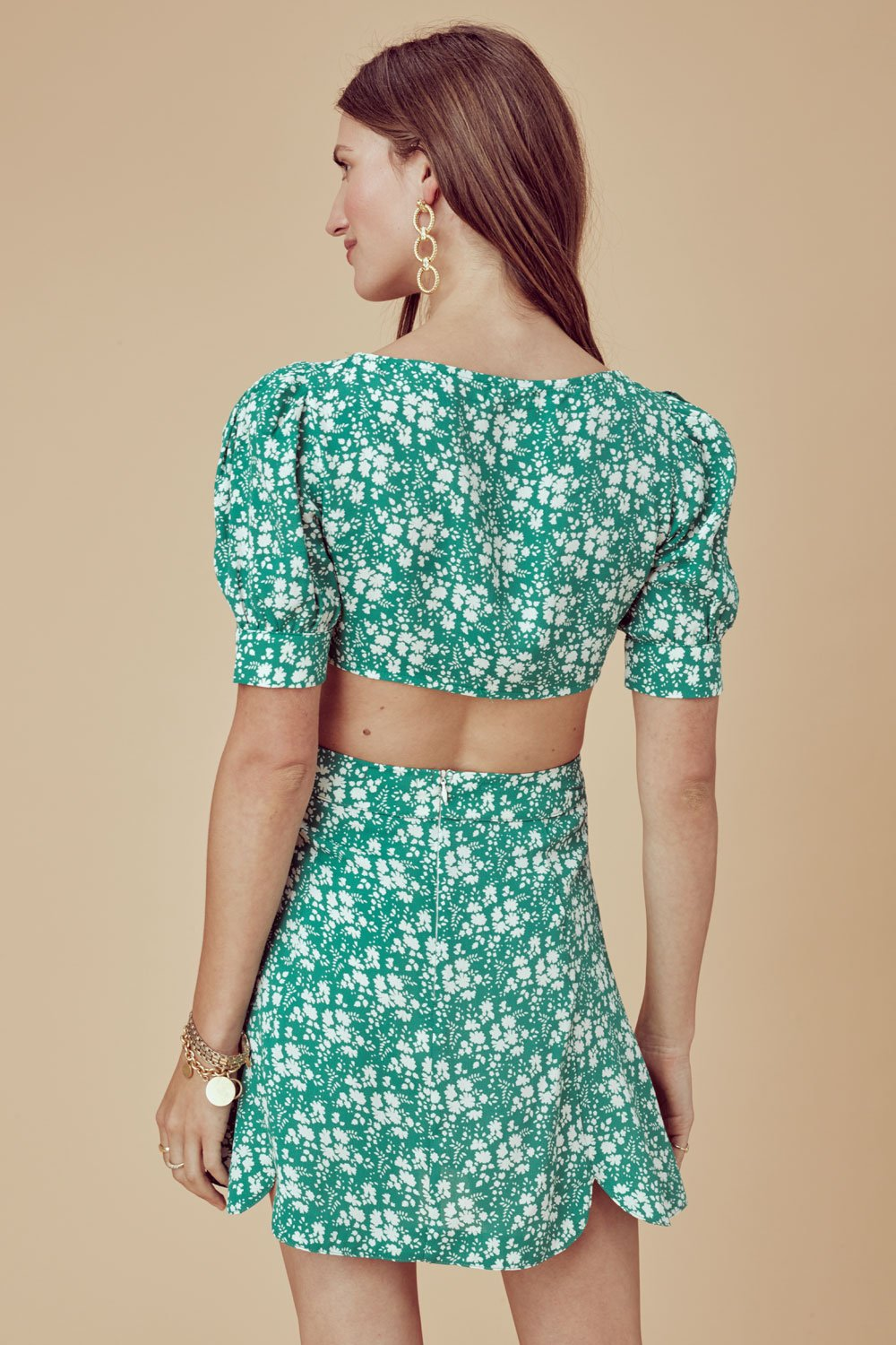 For Love and Lemons Zamira Floral Mini Skirt Kelly