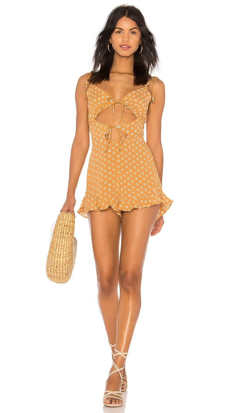 Blue Life Retro Romper Primrose Polka Dot Butterscotch