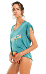 Wildfox Tropical Romeo V Neck Tee Shirt