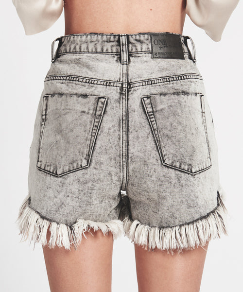 One Teaspoon High Waist Grey Society Bonita Jean Shorts