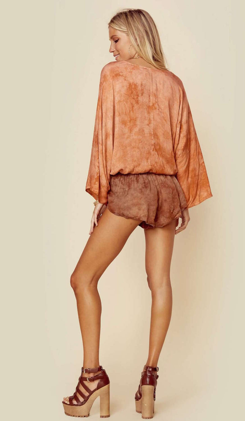 Blue Life Criss Cross Kimono Top Brown Sugar