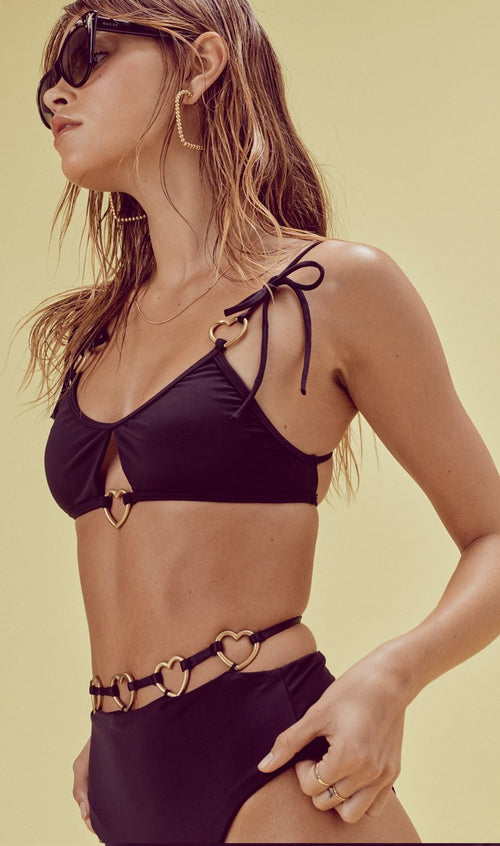 For Love and Lemons Heart Strings High Waist Swim Bottom